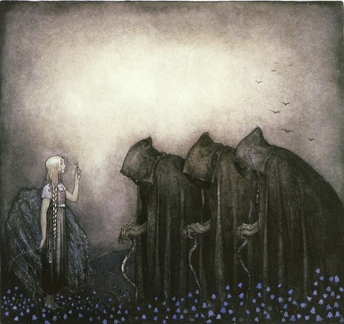 Lena held up the key, a fine key made of pure gold - the golden key by john bauer