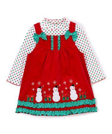 Look what I found on #zulily! Red Snowman Jumper & Polka Dot Top - Infant, Toddler & Girls #zulilyfinds