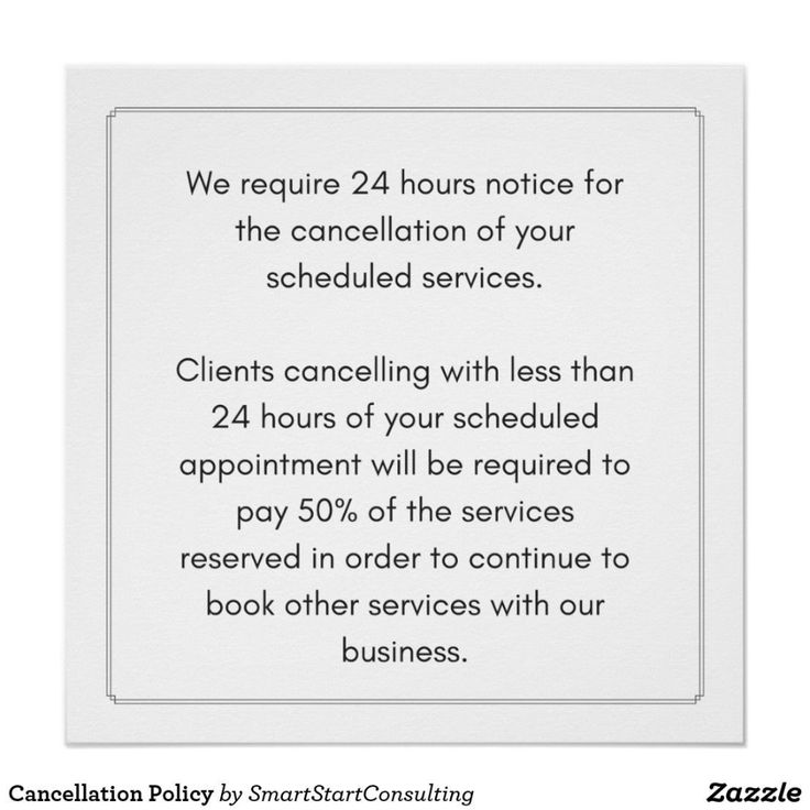 Cancellation Policy Poster More Styles Available Ad Business Spa