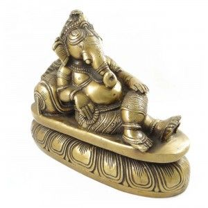 Lord Ganesha Brass Metal Golden Figurine Engraved Decorative Home Décor Art