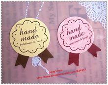 Handmade tags. 2 colores 120pcs/lot pegatinas decorativas hecho a mano bricolaje sellado embalaje etiqueta etiqueta envío gratis(China (Mainland))