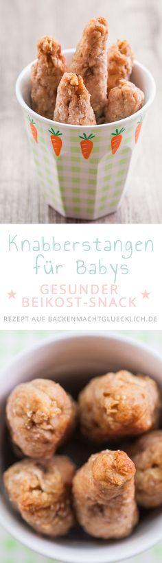 Einfaches Rezept für Knabberstangen bzw. gesunde Babykekse ohne Zucker, die nur aus Dinkelmehl, Öl und Obst bestehen. Ab dem 6. Monat (im Beikostalter) geeignet. Auch gut fürs BLW Baby Lead Weaning. Die Babystangen sind vergleichsweise weich und gut zu kauen bzw. lutschen.