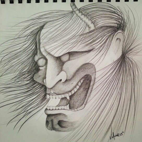 My first black and gray Oni Mask