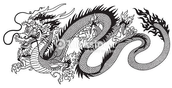Vector Drawing Chinese Dragon Black And White Black And White Sketch Art Tattoo Splash Color White Tattoo Small Dragon Tattoos Chinese Dragon Tattoos