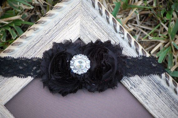 Black Shabby Chic Headband with Black Lace by SweetBellaJean, $6.99