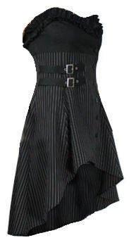 Wrap & Buckle Gothic Victorian Steam Punk Ruffle Bustier Pinstripe Waistcoat Top/Dress