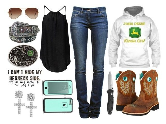 """""""Cruise On A Dirt Road"""" by im-a-jeans-and-boots-kinda-girl ❤ liked on Polyvore featuring Étoile Isabel Marant, Witchery, Rayban, John Deere, Giani Bernini, Ariat and country"""