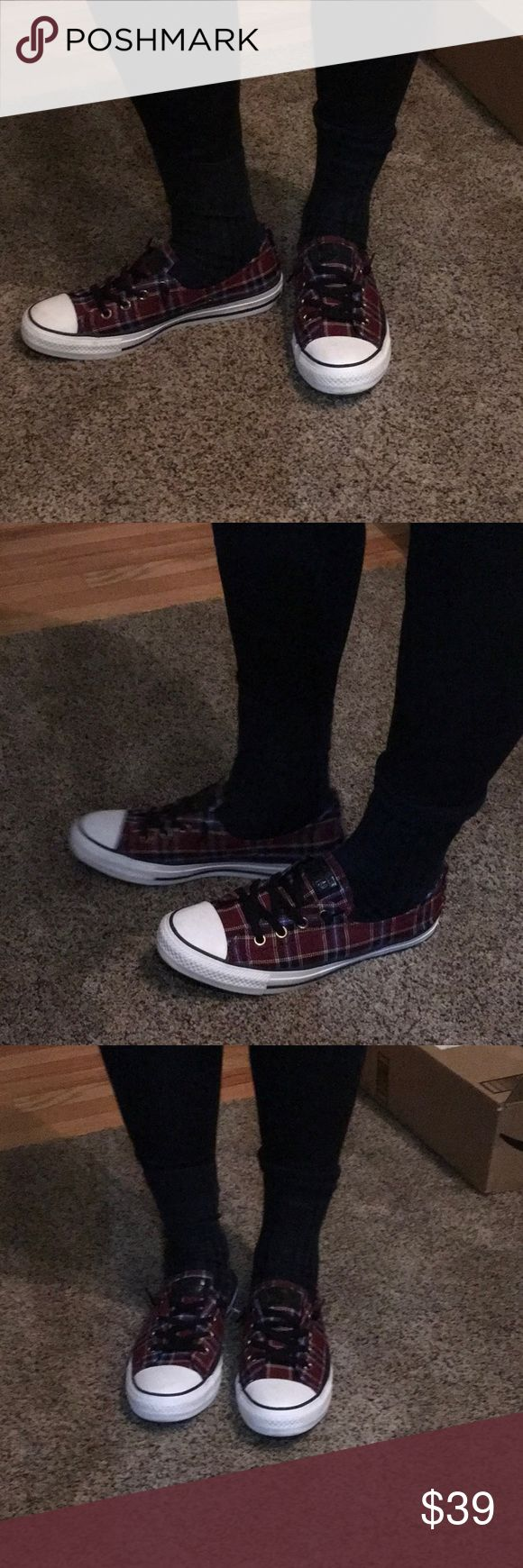 Red and black Converse plaid sneakers NWOB Red and black Converse plaid sneakers. NWOB. never worn. Size 7.5 men; 9 women. Converse Shoes Sneakers