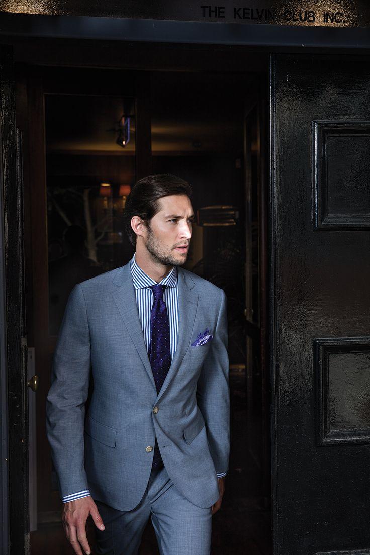 Diamante light denim suit; Livermore navy shirt; Pomarance purple tie; Dessole violet pocketsquare.