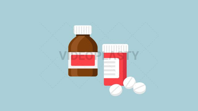 An icon of two medicine bottles one brown with a red tag and one red with a white tag and a couple of white pills near it designed in flat design style. Three version are included:in/out loop andin (can be extended with the loop version) Clip Length:10 seconds Loopable: Yes Alpha Channel: Yes Resolution:FullHD Format: Quicktime MOV