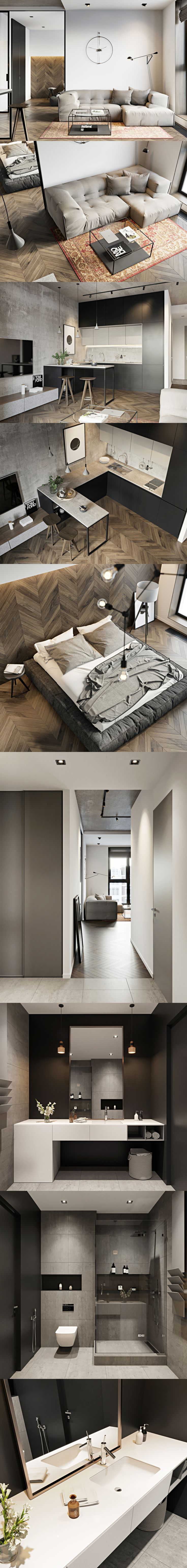 Perfectly formed one bed apartment. Ceiling to floor storage in kitchen and built in table allows for sight lines through to all rooms including bedroom.
