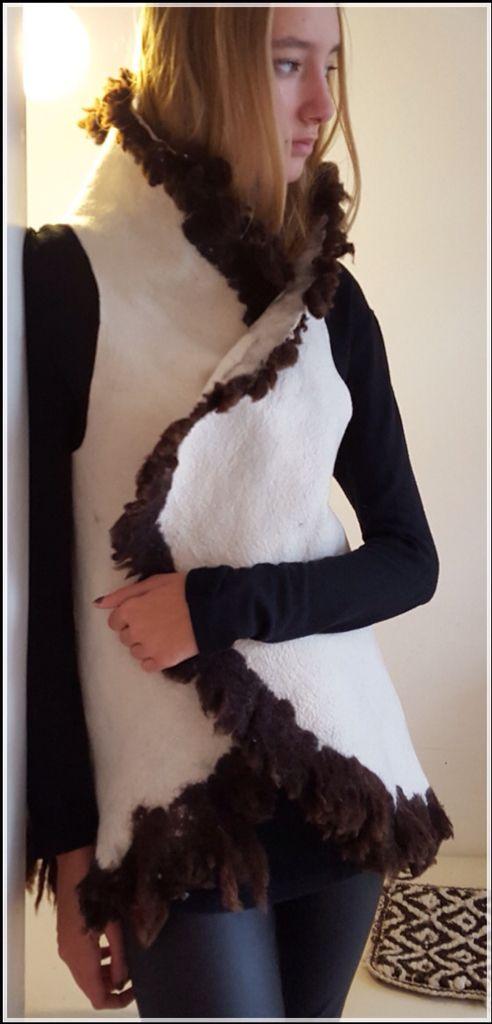 Chaleco Patagonia fieltro hecho a mano AMALANA FELT ARGENTINA 100%lana de oveja