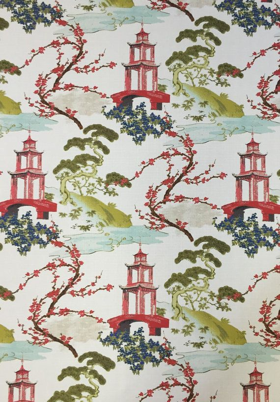 Pagoda Fabric - Zen - Asian Upholstery Fabric - Modern Asian Fabric - Pillow Cover  A modern chinoiserie fabric featuring Asian scenery. This fabric is a medium weight and is suitable for upholstery, window treatments, bedding, and pillows. For more information on this fabric please see below. Details: Width: 56 Vertical: 27 Horizontal: 27 Care: Dry Clean Only  Usage: -Medium-Heavyweight Upholstery: Sofas, Indoor Benches, Ottomans, Footstools, Headboards, Window seat cushions, Kitchen…