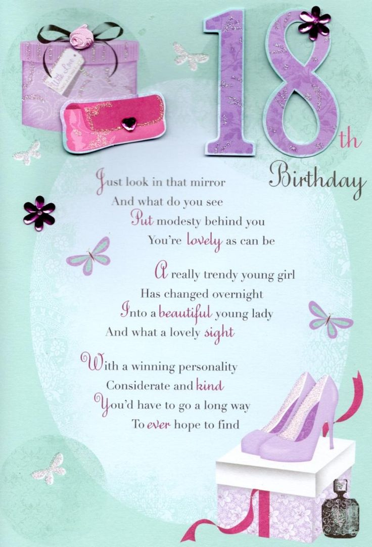 18th Happy Birthday Greeting Card CardsTeen Girls