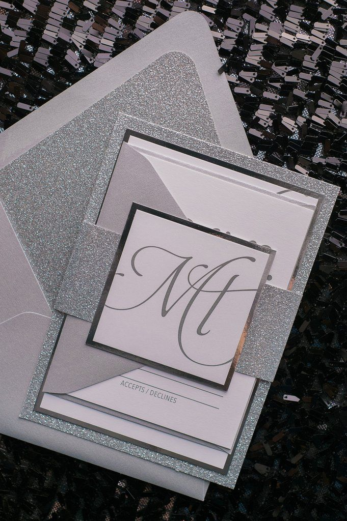 Gorgeous Silver Glitter Modern Wedding Invitations by