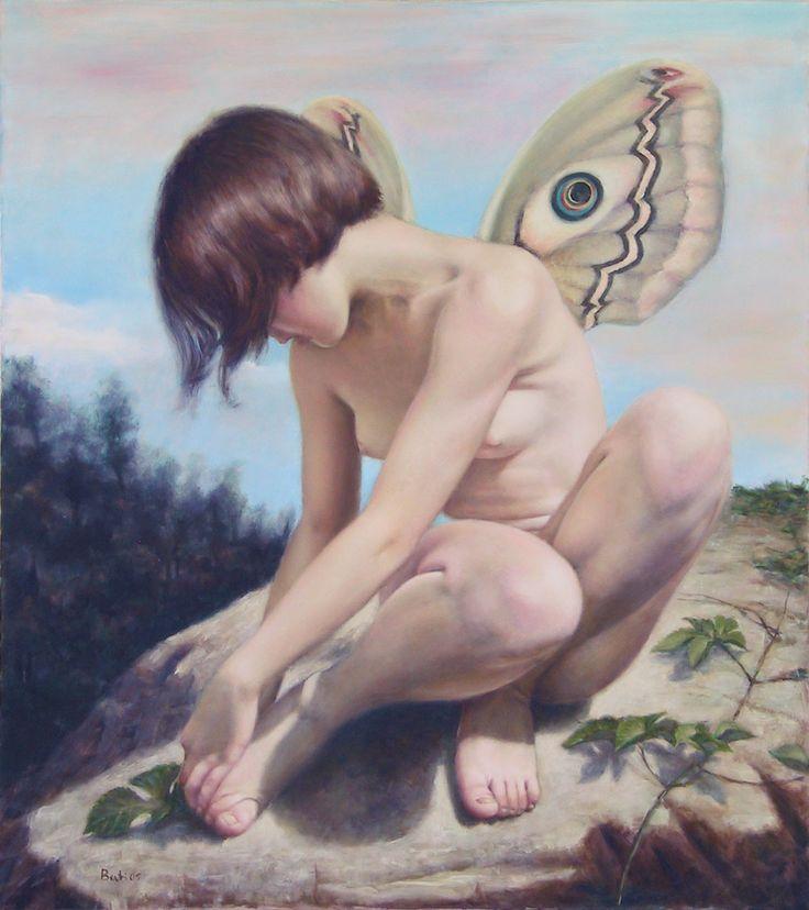 Psiche che si punge un piede (2005) - Olio su tela, 80x90 cm.