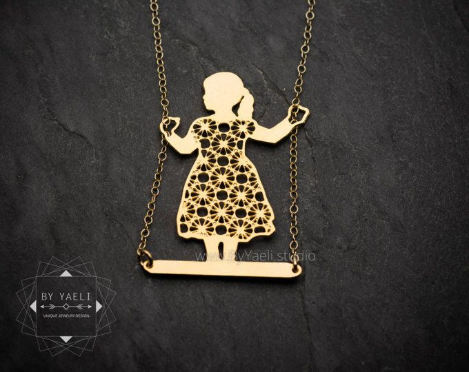 Girl on swing Necklace, Hanukkah Gift Necklace, Christmas Gift Tween, Delicate Statement Necklace, Push Gift Jewelry, Xmas