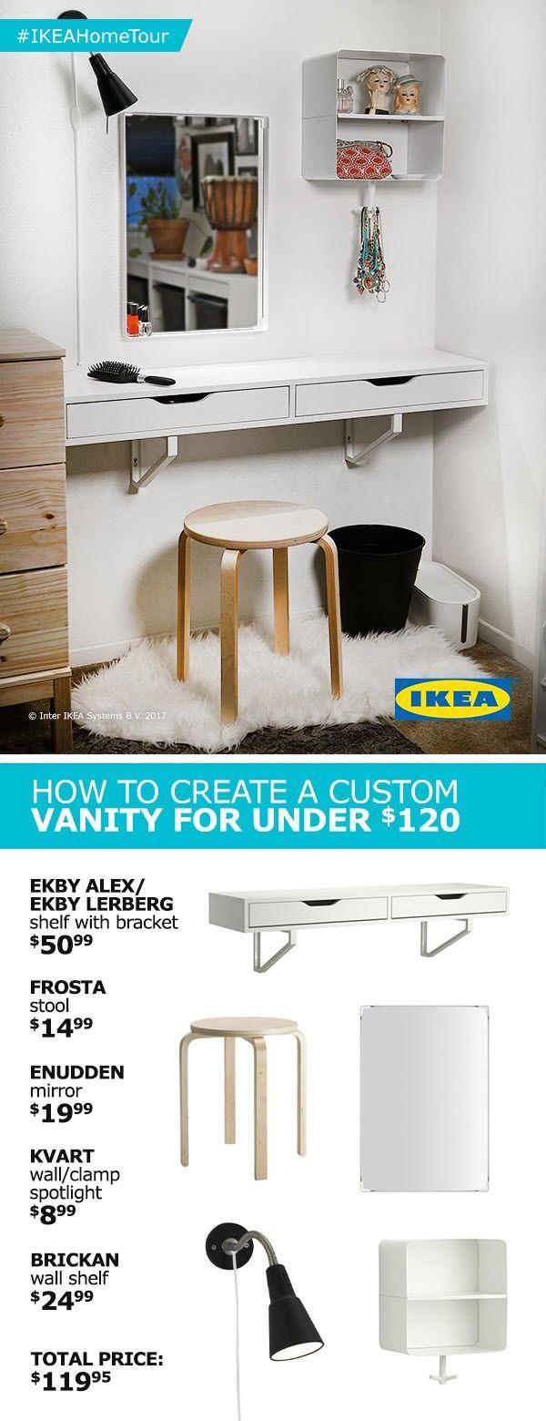 Erstellen Sie eine individuelle Eitelkeit für weniger als 120 US-Dollar mit Tipps und Ideen aus dem IKEA Home Tour Squad! Das spart nicht nur Platz, sondern sieht auch noch gut aus