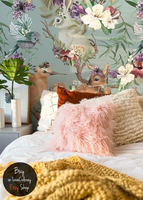 Enchanted Forest Removable Wallpaper Vintage Forest Animals Etsy Large Wall Murals Deer Wall Mural Removable Wallpaper