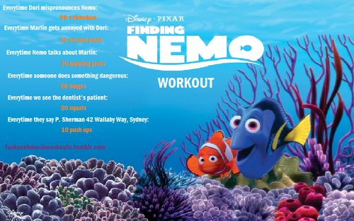Finding Nemo movie workout!  Want to see more workouts like this one? Follow us here.