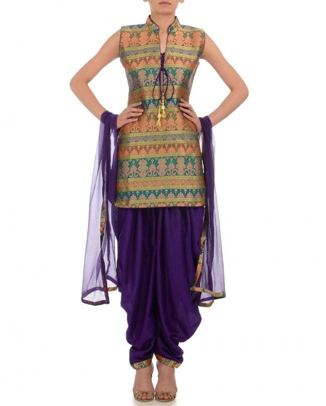 DIA KAPOOR Golden & Royal Purple Suit