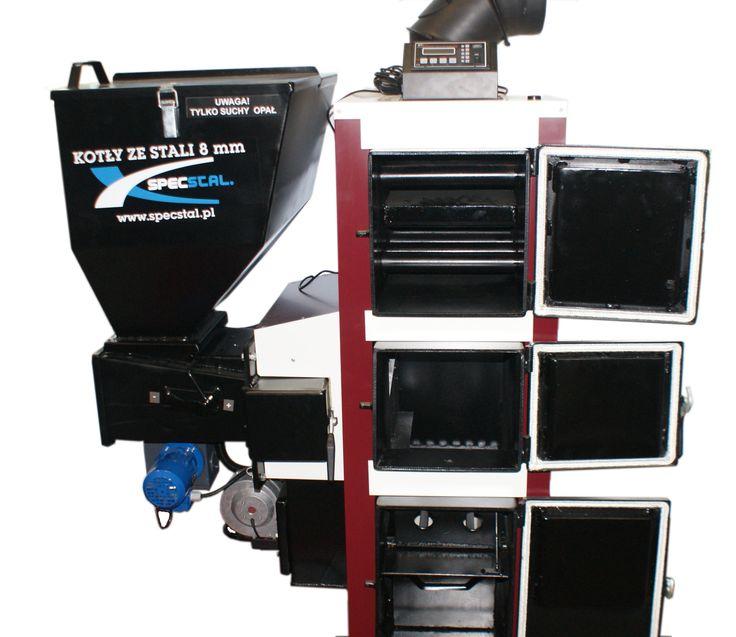 SpecStal - PT-2B kocioł z podajnikiem tłokowym na paliwo stałe.PT.