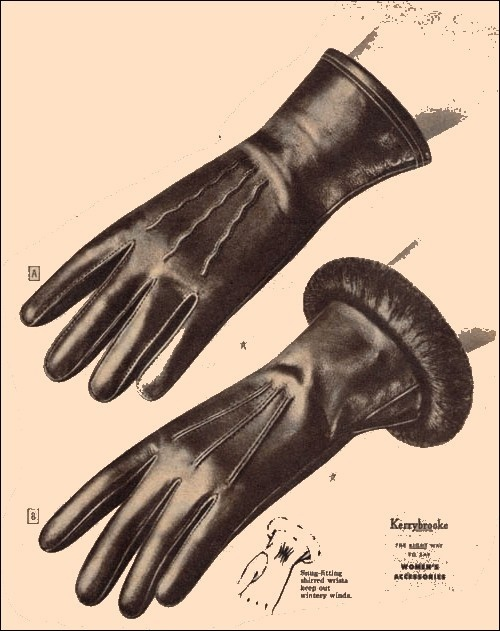 Fashionable early 1950s - Leather gloves from Sear's Kerrybrooke line.
