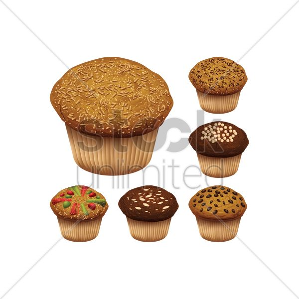 set of muffins vector graphic