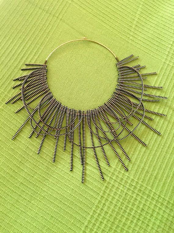 Golden Zipper Freestyle Design Avant Garde Necklace - Urban Style Choker - Modern Handmade Zipper Necklace