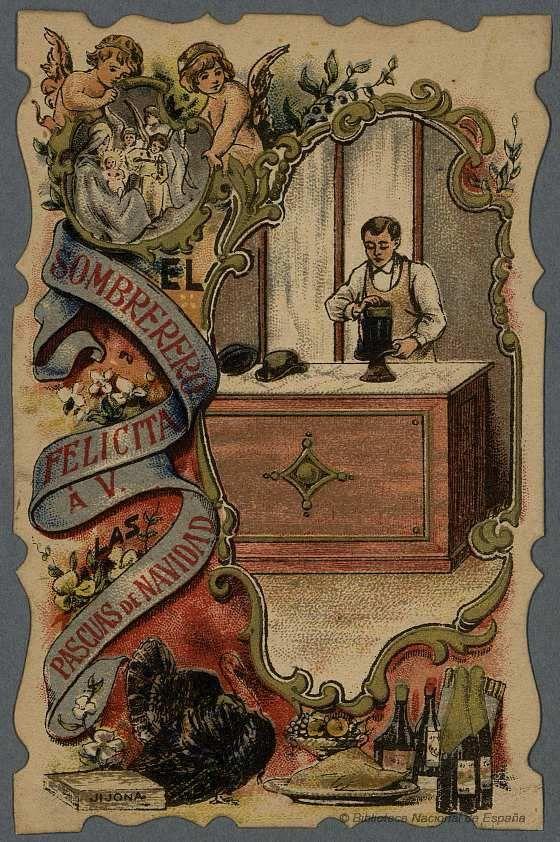 [Felicitaciones de Navidad de oficios.. EL SOMBRERERO Grabado — 1900-1940