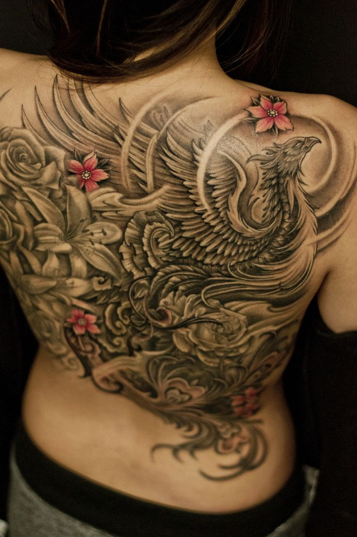 Full back black and grey phoenix and flowers for Back tattoo flower designs