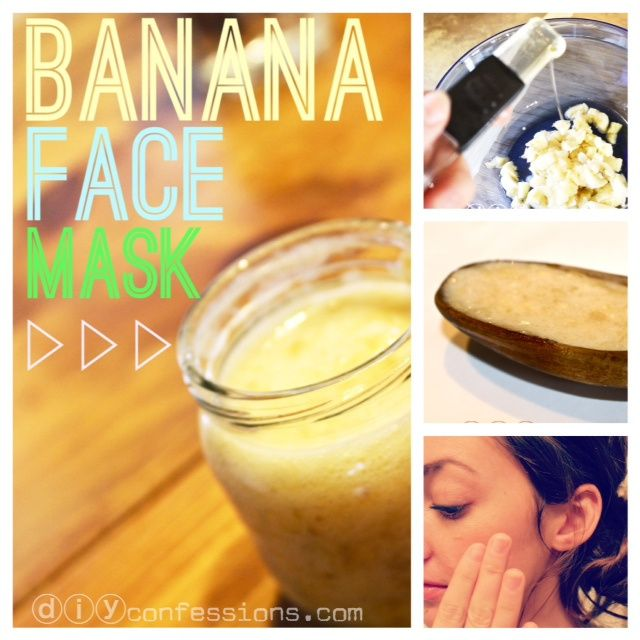 Home-Made Banana Face Mask! This mask works wonderfully for DRY & SENSITIVE skin! Only requires three ingredients. #diy