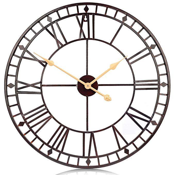 Amazon Com Pumerit Vintage Big Wall Clock Rustic Retro Metal Wall