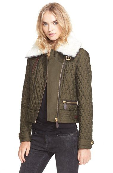 Burberry Brit 'Weatherford' Quilted Jacket with Genuine Shearling Collar available at #Nordstrom