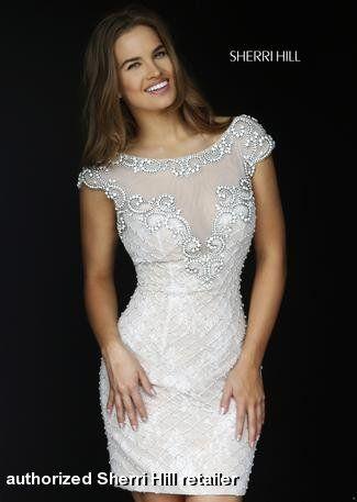 Evening Dress Sherri Hill Short White Beaded Great For A Wedding