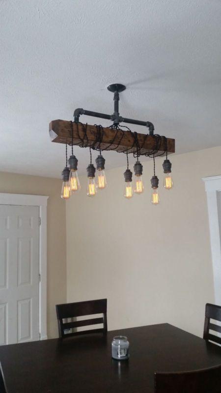 Distressed Wood Beam Pendant Chandelier Pipe Light