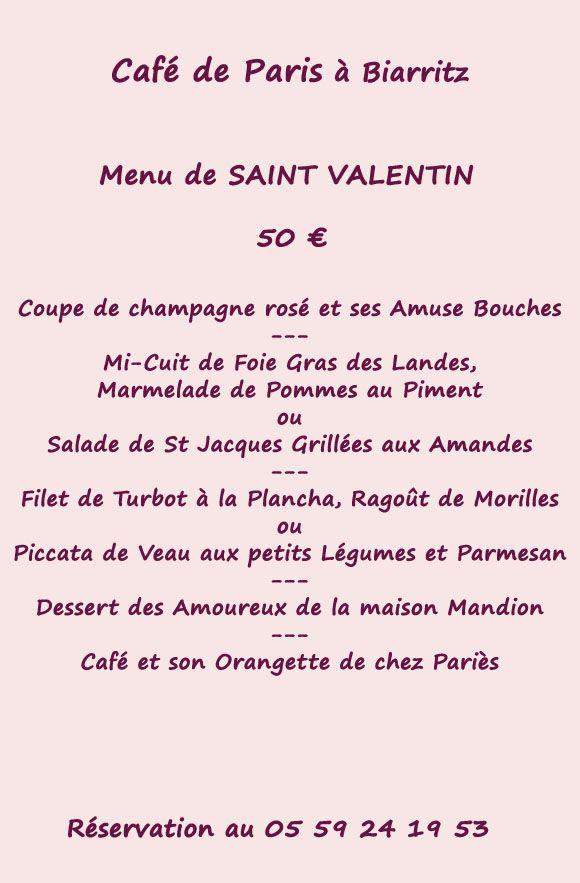 menu st valentin Café de Paris à Biarritz