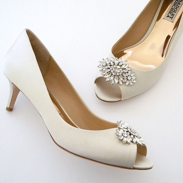 """Badgley Mischka Nakita. Low heel peep-toe pumps with a low cut side for some added """"sex-appeal"""""""