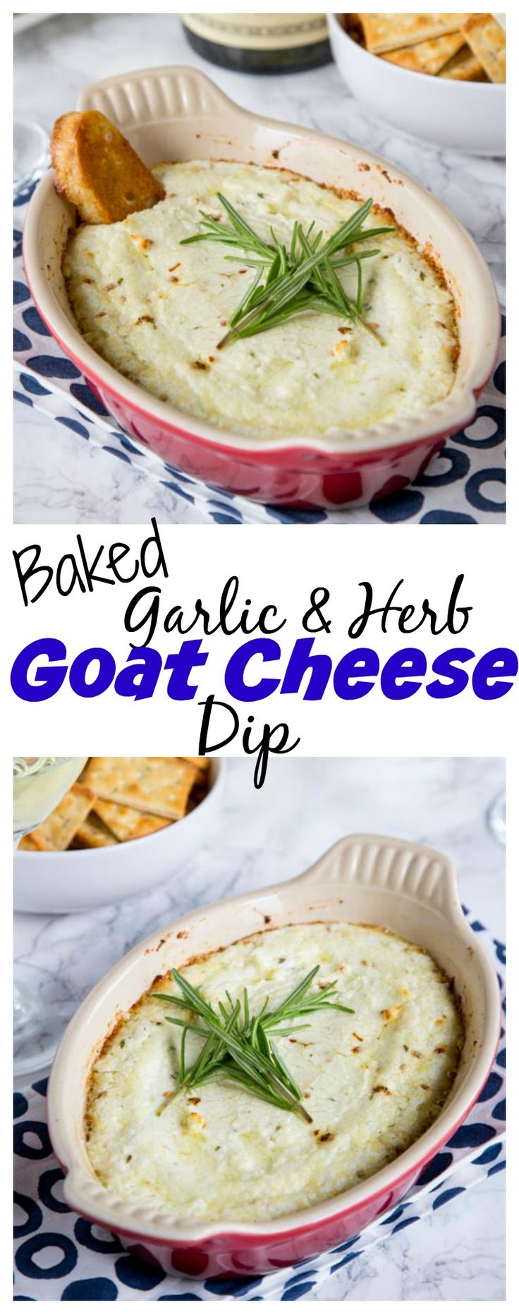 Garlic Herb Baked Goat Cheese Dip – melty, cheesy baked goat cheese dip with lots of garlic and herbs! Pair with a glass of wine and you have the perfect appetizer.