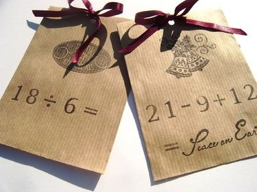 I love this! ornament for Advent Tree and a math problem to get the right day of the month OR Countdown to Christmas!!!