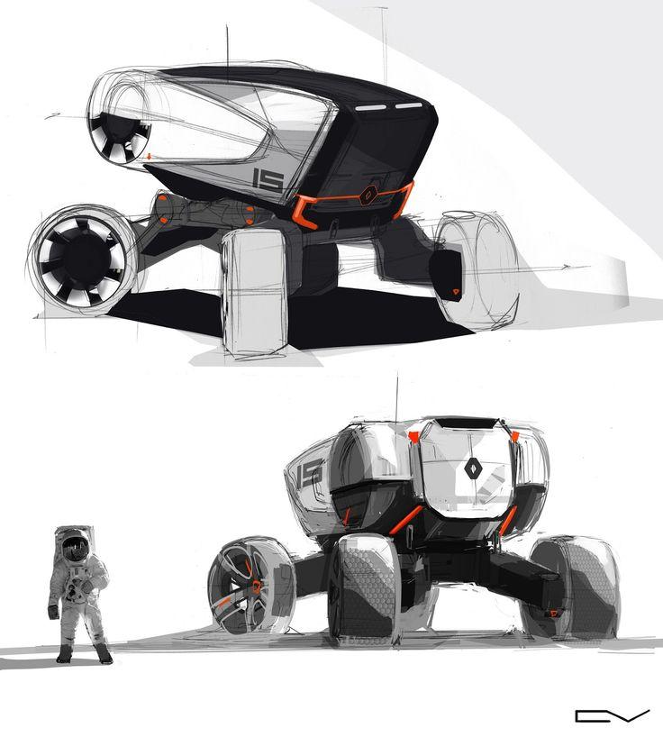 © Vladimir Chepushtanov | Russia links: https://www.behance.net/chepushtanovv http://chepushtanovv.blogspot.ru/ https://www.instagram.com/chepushtanov_v/ Renault #moon #rover #exterior #wip #sketch #doodle #art #inktober #inktober2016 #pen #interface #cab #drawing #design #Cardesign #automotive #space #vision #future #offroad #carporn #trash #robotic #photoshop #speed #drive #concept #project #car #automotive #renault