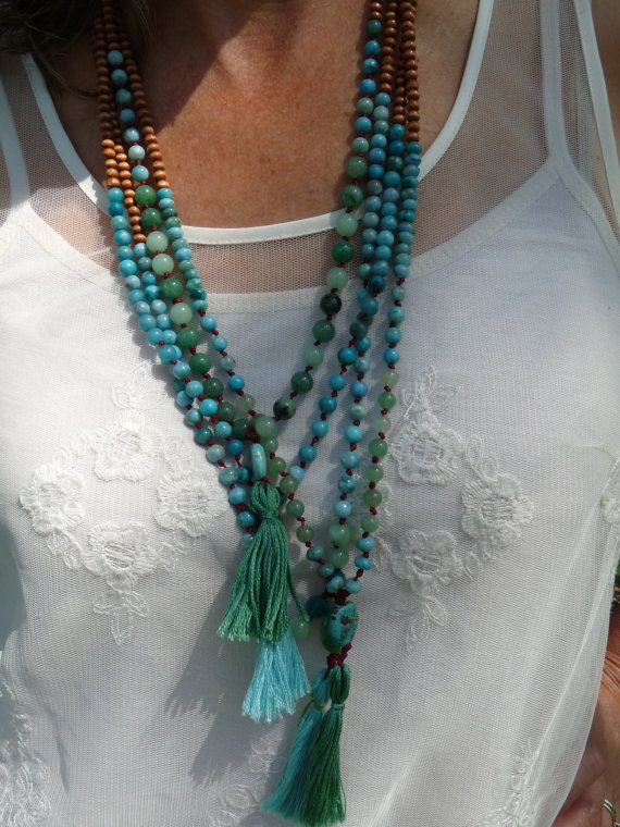 Teal Boho Necklace by SaintJohnStudios on Etsy