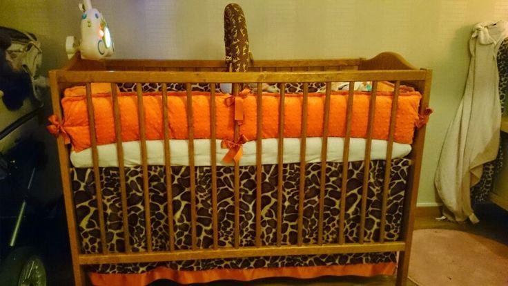 Giraffe minky baby crib skirt and bedding set