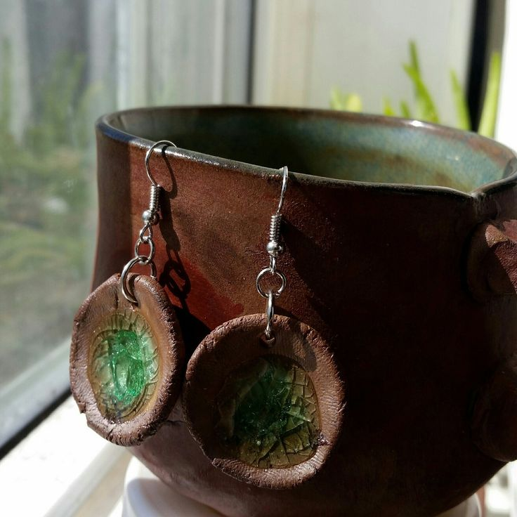 Newly listed Clay with Sea Glass Dangle Earrings!