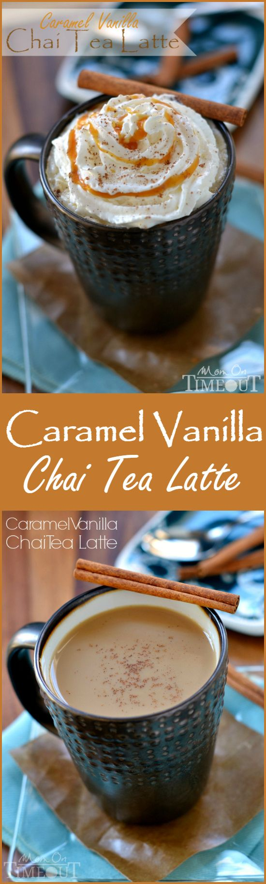 Caramel Vanilla Chai Tea Latte - One of my favorite morning treats - perfect for those days when I have a few extra minutes! To make vegan use almond/soy milk!
