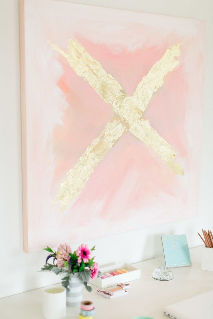 Diy Gold Leaf Wall Art : Diy abstract art style me pretty living gold