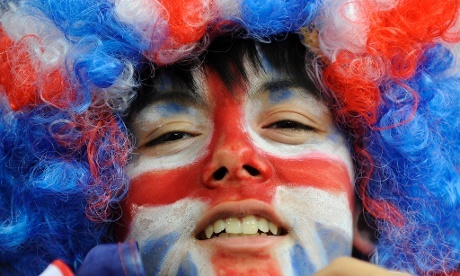 No prizes for guessing which team this fan will be cheering on as Great Britain take on Germany in their wheelchair basketball preliminary Group B match at the North Greenwich Arena.