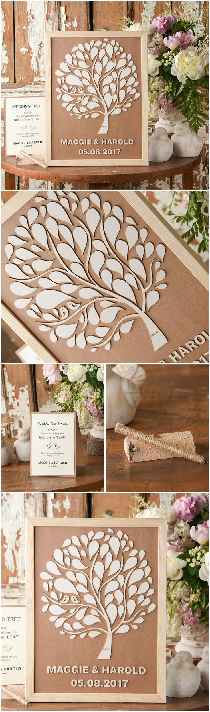 Alternative Tree Wooden Wedding Guest Book Frame #unique #original #alternative #wood #rustic #countrywedding #handmade #tree #lovebirds #dpf