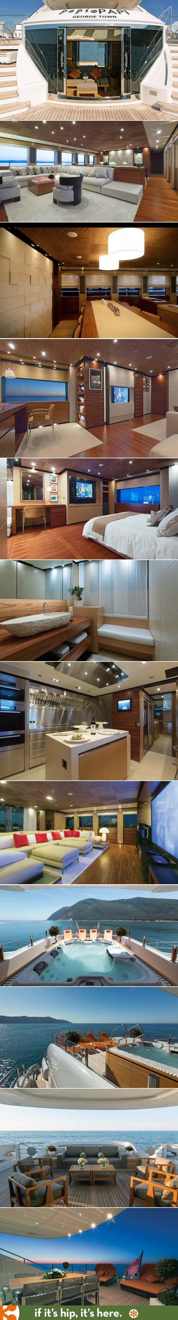 A first look inside the beautifully decorated 164 foot yacht, the Papi du Papi.