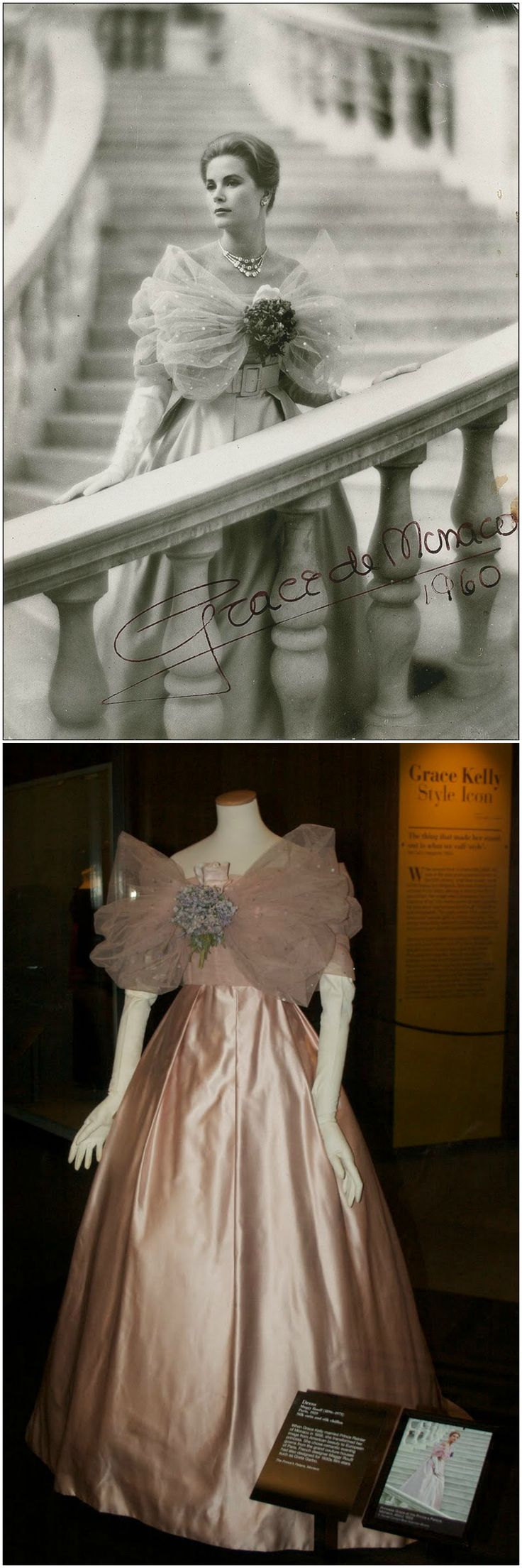 """Dress by Maggy Rouff, Paris, 1959, silk satin and silk chiffon. Worn by Princess Grace of Monaco, for a photograph taken on the steps of the Prince's Palace, around 1959 or 1960 (see top photo: © Howell Conant, via gracefilm Tumblr). Bottom photo: Installation view of the dress from the """"Grace Kelly: Style Icon"""" exhibition at the V&A, London (credit: My 'Richard Curtis' London Blog)."""